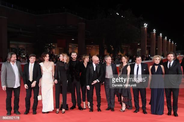 Cast members of 'La Ragazza Nella Nebbia' walk the red carpet for 'La Ragazza Nella Nebbia' during the 12th Rome Film Fest at Auditorium Parco Della...