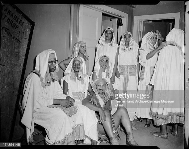 Cast members of National Negro Opera Company's production of Aida from left Ezra Murphy Ellen Favor Walter Burt Jackson and Martine Dalton standing...