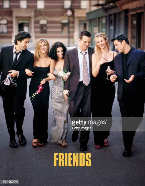 Cast Members Of NBC's Comedy Series Friends Pictured David Schwimmer As Ross Geller Jennifer Aniston As Rachel Cook Courteney Cox As Monica Geller...