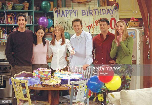 "Cast members of NBC's comedy series ""Friends."" Pictured : David Schwimmer as Ross Geller, Courteney Cox as Monica Geller, Jennifer Aniston as Rachel..."