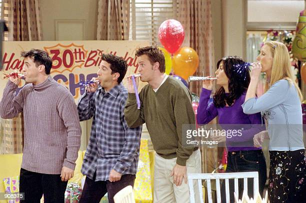 "Cast members of NBC's comedy series ""Friends."" Pictured : Matt LeBlanc as Joey Tribbiani, David Schwimmer as Ross Geller, Matthew Perry as Chandler..."