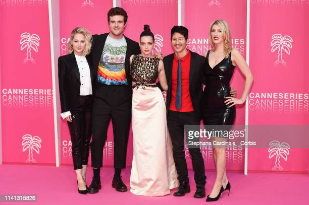 Cast members of 'Now Apocalypse' US actors Kelli Berglund Beau Mirchoff French actress Roxane Mesquida US producer Gregg Araki and US producer and...