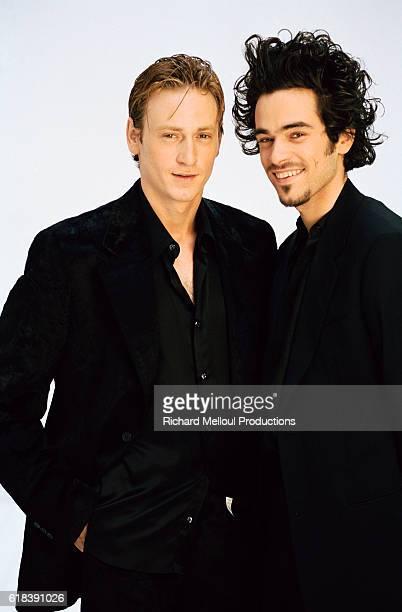 Cast members of Olivier Dahan's movie Deja Mort French actors Benoit Magimel and Romain Duris in Paris