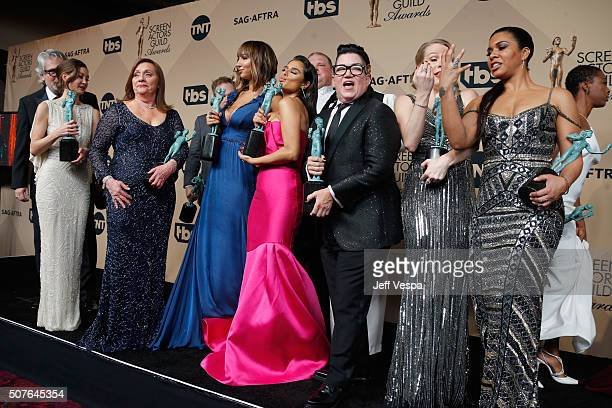 Cast members of ''Orange Is the New Black' winner of Outstanding Performance by an Ensemble in a Comedy Series pose in the press room during the 22nd...