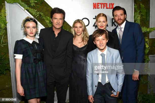 Cast members of Ozark Julia Garner Jason Bateman Sofia Hublitz Skylar Gaertner Laura Linney and Jason Butler Harner attend the Netflix Original...