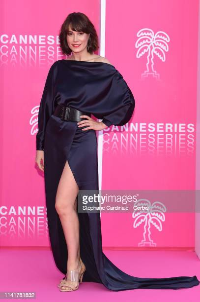 Cast members of 'Perfect Life', Spanish actress Celia Freijeiro poses on the pink carpet prior to the closing ceremony of the 2nd Canneseries -...