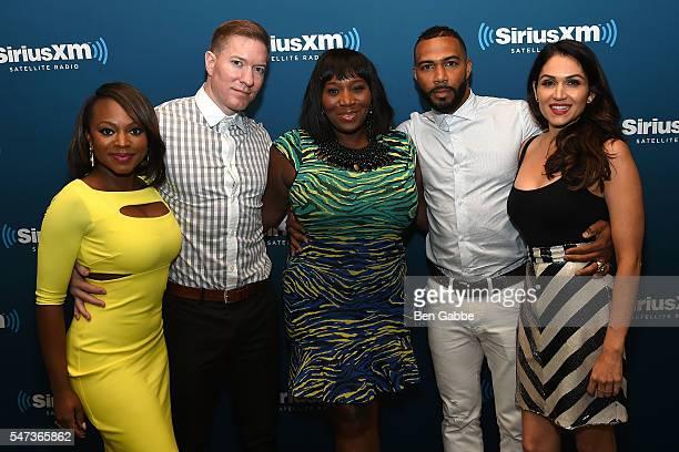 Cast members of 'Power' Naturi Naughton Joseph Sikora Omari Hardwick and Lela Loren pose with Bevy Smith at SiriusXM's 'Town Hall' with the cast of...