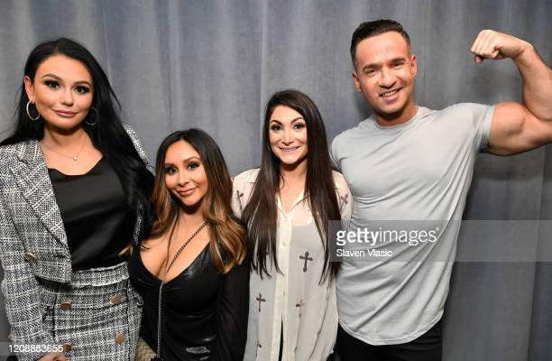 "Cast members of reality television series ""Jersey Shore"" Jenni ""JWoww"" Farley, Nicole ""Snooki"" Polizzi, Deena Nicole Cortese and Mike ""The Situation""..."