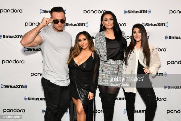 "Cast members of reality television series ""Jersey Shore"" Mike ""The Situation"" Sorrentino, Nicole ""Snooki"" Polizzi, Jenni ""JWoww"" Farley and Deena..."