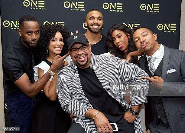 Cast members of 'Ringside' Jackie Long, Raney Branch, Tyler Lepley, Sevyn Streeter, Allen Maldonado and Producer/Writer Russ Parr attend TV One's...