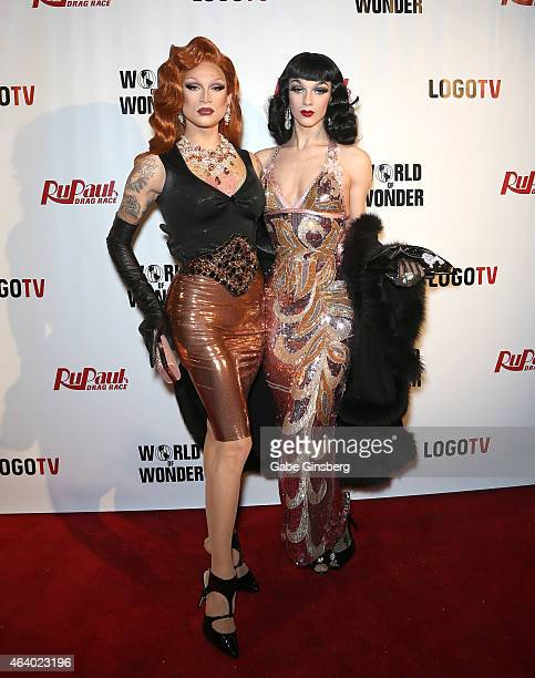 Cast members of season seven of RuPaul's Drag Race Miss Fame and Violet Chachki arrive at a viewing party for the show's premiere at the Chateau...