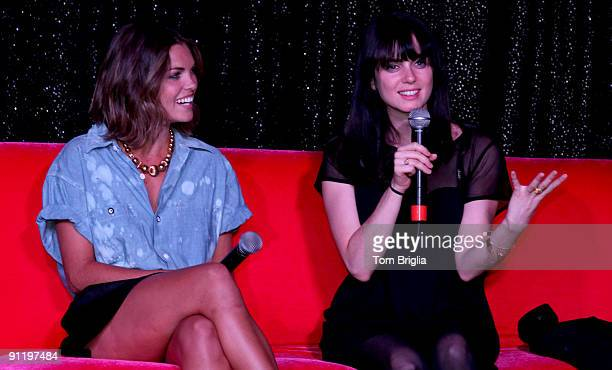 Cast members of Showtime�s The L Word Kate French and Mia Kirshner engage in 'Pillow Talk' a QA in the music hall at the House of Blues at The...