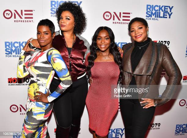 "Cast members of Sister Circle: Rashan Ali, Syleena Johsnon, Quad Webb-Lunceford, and Trina Braxton attend ""Rickey Smiley For Real"" Season 5 Premiere..."