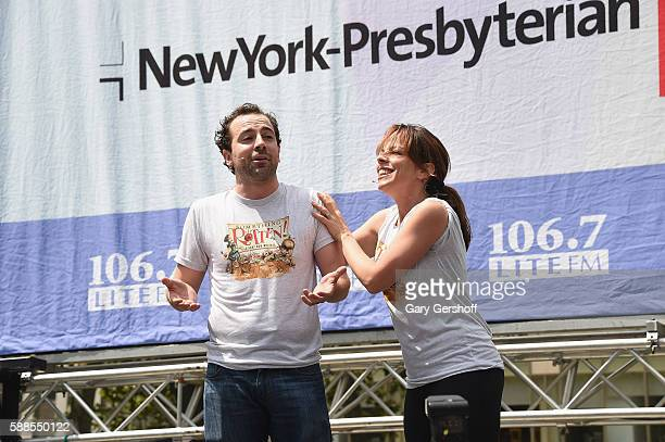 """Cast members of """"Something Rotten,"""" Max Clayton and Tari Kelly perform at 106.7 LITE FM's Broadway In Bryant Park at Bryant Park on August 11, 2016..."""