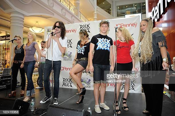 Cast members of the Broadway show Rock Of Ages Becca Tobin Jennifer Foote Constantine Marsoulis Ericka Hunter Derek St Pierre Lauren Molina and...