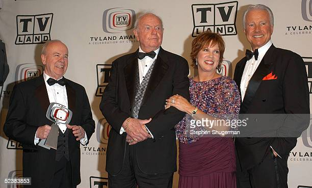 Cast members of the Carol Burnet Show Tim Conway, Harvey Korman, Vicki Lawrence and Lyle Waggoner pose in the press room at the 2005 TV Land Awards...