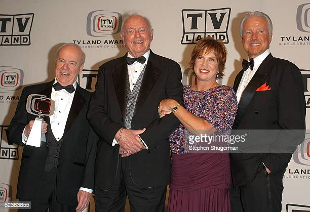 Cast members of the Carol Burnett Show Tim Conway Harvey Korman Vicki Lawrence and Lyle Waggoner pose in the press room at the 2005 TV Land Awards at...