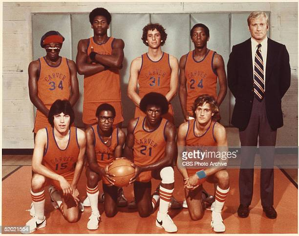 Cast members of the CBS television drama 'The White Shadow' Eric Kilpatrick Byron Stewart Ken Michelson Nathan Cook and Ken Howard Front row from...