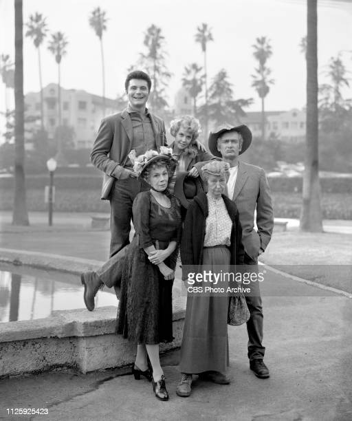 Cast members of the CBS television situation comedy The Beverly Hillbillies December 3 1963 Los Angeles CA Pictured is cast members Max Baer Jr Donna...