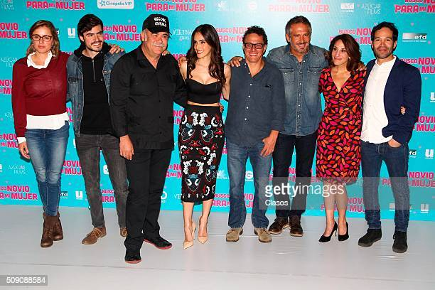 Cast members of the film 'Busco novio para mi mujer' pose for pictures at Universidad square on February 08 2016 in Mexico City
