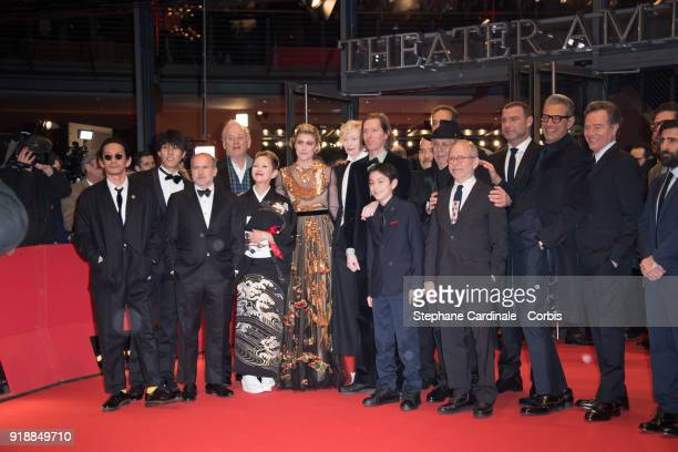 Cast members of the film 'Isle of Dogs' attend the Opening Ceremony 'Isle of Dogs' premiere during the 68th Berlinale International Film Festival...