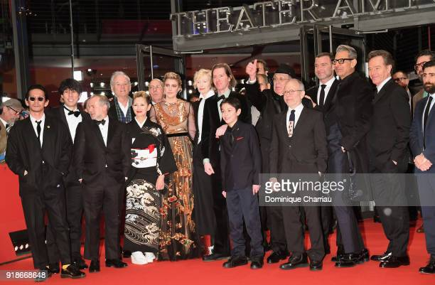 Cast members of the film 'Isle of Dogs' attends the Opening Ceremony 'Isle of Dogs' premiere during the 68th Berlinale International Film Festival...