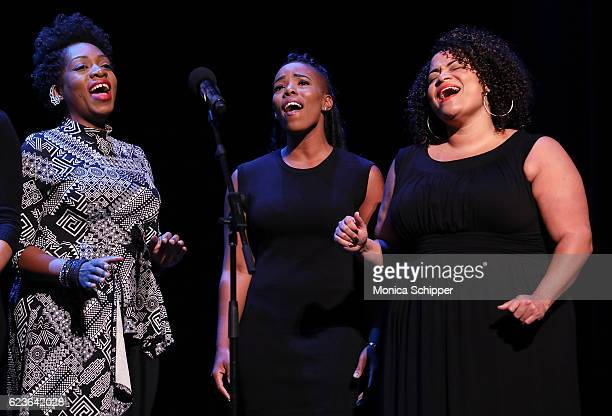 Cast members of 'The First Noel' perform on stage at 'The First Noel' Sneak Peek at The Apollo Theater on November 16 2016 in New York City