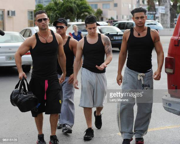 Cast members of the Jersey Shore are sighted on April 7 2010 in Miami Beach Florida