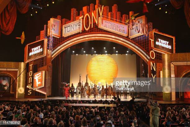 Cast members of 'The Lion King' perform on stage during the 62nd Annual Tony Awards at Radio City Music Hall on June 15 2008 in New York City
