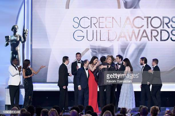 Cast members of 'The Marvelous Mrs Maisel' accept the Outstanding Performance by an Ensemble in a Comedy Series award onstage during the 25th Annual...