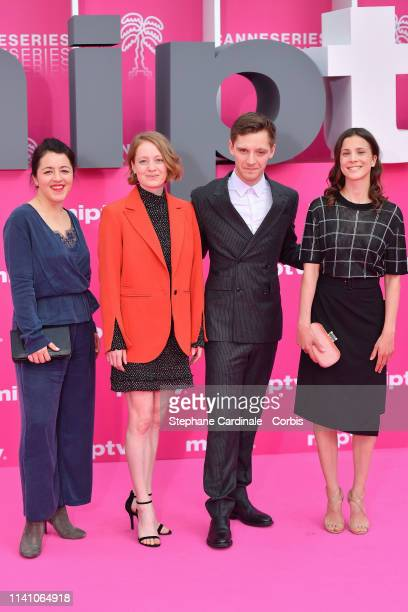 Cast members of 'The Master Butcher' Sarah Kierkegaard Leonie Benesch Jonas Nay and Aylin Tezel pose on the pink carpet during the 2nd Canneseries...