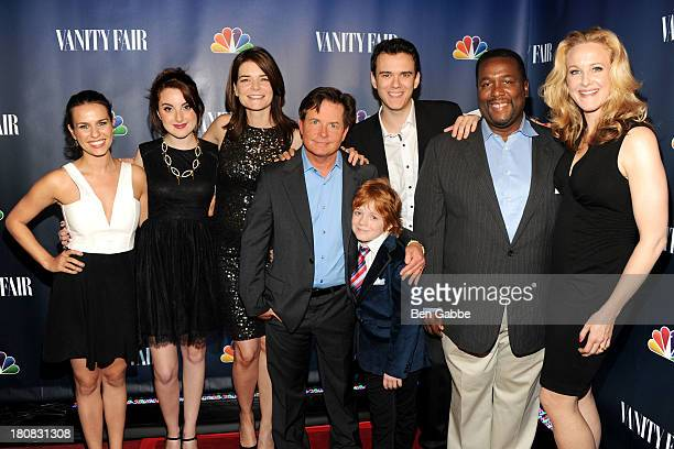 Cast members of 'The Michael J Fox Show' Ana Nogueira Juliette Goglia Michael J Fox Jack Gore Conor Romero Wendell Pierce and Katie Finneran attend...