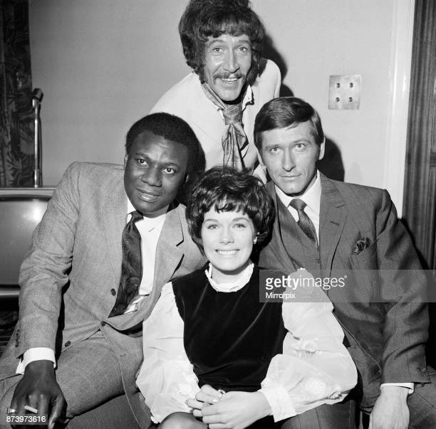 Cast members of the new ATV detective film series 'Department S' starring left to right Dennis Alba Peters Peter Wyngarde Joel Fabiani and Rosemary...