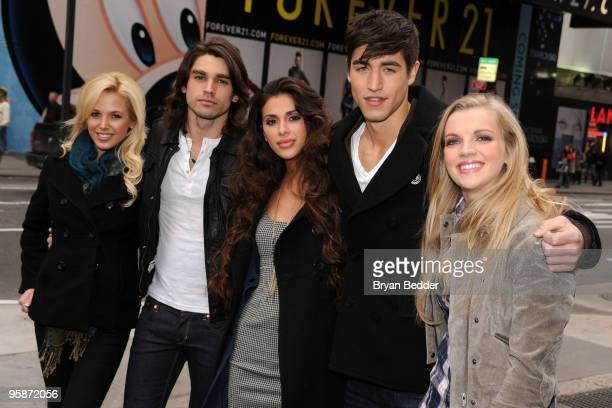 Cast members of the reality show If I Can Dream Amanda Phillips Justin Gaston Giglianne Braga Benjamin Elliot and Kara Kilmer pose during a photo op...
