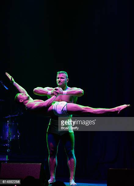 Cast members of the show 'Absinthe' perform during the Scleroderma Research Foundations' Cool Comedy Hot Cuisine fundraiser at Brooklyn Bowl Las...