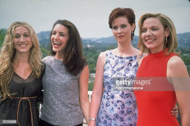 Cast members of the television series Sex and the City : Sarah Jessica Parker, Kristin Davis, Cynthia Nixon and Kim Cattrall, Beverly Hills,...