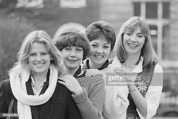 Cast members of the televsion film 'The Road to 1984' posed together in London on 9th January 1984 From left to right Julia Goodman Janet Dale Judy...