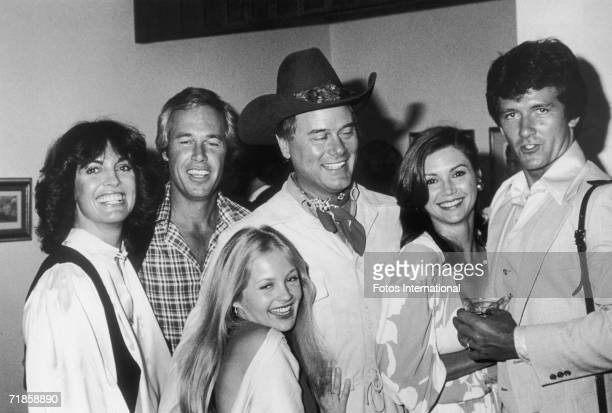 Cast members of the TV programme 'Dallas' attend a party thrown for them by the Worldvision television company at the Century Plaza Hotel LA May 1978...