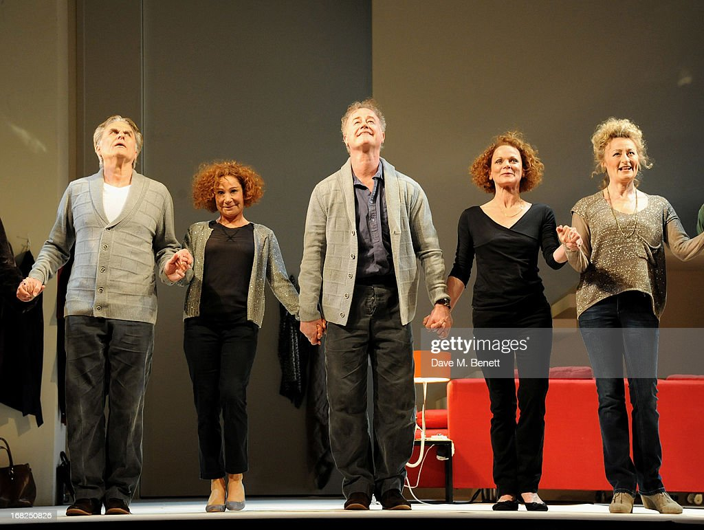 Cast members Oliver Cotton, Zoe Wanamaker, Owen Teale, Samantha Bond and Sian Thomas bow at the curtain call during the press night performance of 'Passion Play' at the Duke Of York's Theatre on May 7, 2013 in London, England.