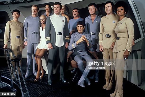 Cast members on set of the 1979 film Star Trek The Motion Picture include from left George Takei Stephen Collins Persis Khambatta Majel Barrett...