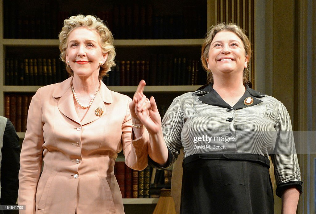 Cast members Patricia Hodge (L) and Caroline Quentin bow at the curtain call during the press night performance of 'Relative Values' at the Harold Pinter Theatre on April 14, 2014 in London, England.