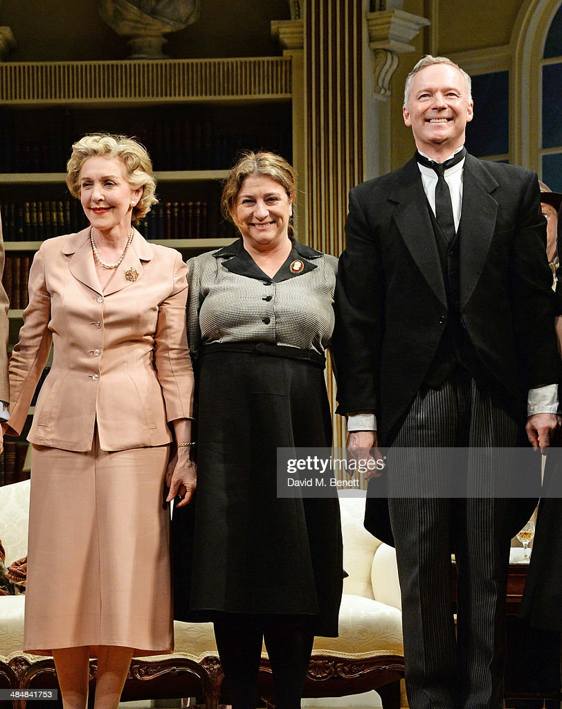 Cast members Patricia Hodge, Caroline Quentin and Rory Bremner bow at the curtain call during the press night performance of 'Relative Values' at the Harold Pinter Theatre on April 14, 2014 in London, England.
