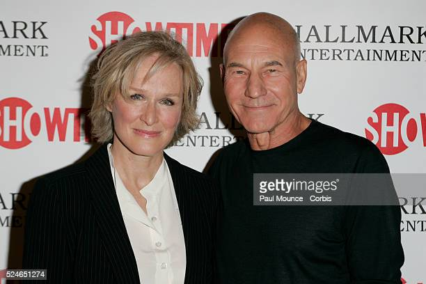 Cast members Patrick Stewart and Glenn Close arrive at the world premiere of the Showtime Original Picture The Lion In Winter The cable TV movie...