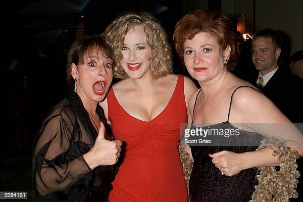 Cast members Patti LuPone Katie Finneran and Faith Prince at the opening night party for Noises Off at Pier 60 on the Chelsea Piers in New York City...