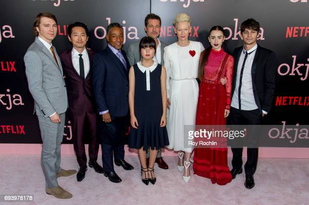 Cast members Paul Dano Stephen Yeun Giancarlo Esposito Ahn Seohyun Brad Pitt Tilda Swinton Lily Collins and Devon Bostick attends the New York...
