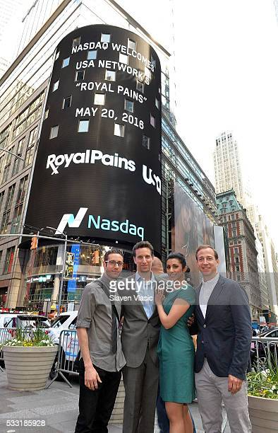 Cast members Paulo Costanzo Ben Shenkman Reshma Shetty and Executive Producer Michael Rauch of USA Network's 'Royal Pains' visit The NASDAQ Closing...