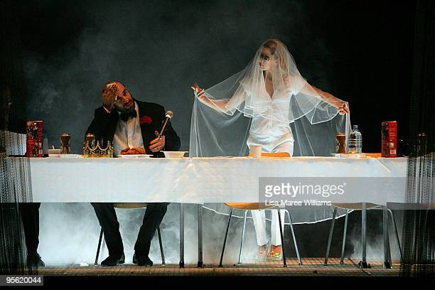 Cast members perform an exert from the German theatre company Schaubuhne's stage production of Hamlet on stage as part of the Sydney Festival 2010 at...