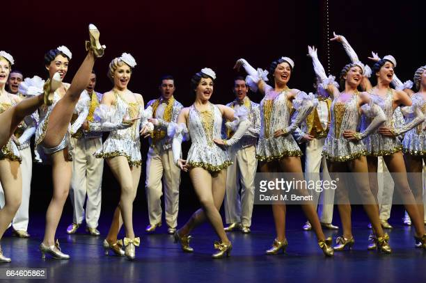 Cast members perform at the curtain call during the Opening Night Royal Gala performance of '42nd Street' in aid of the East Anglia Children's...