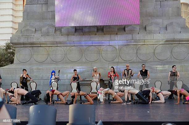 Cast members perform during a special outdoor performance of Zumanity The Sensual Side of Cirque du Soleil at the New YorkNew York Hotel Casino on...