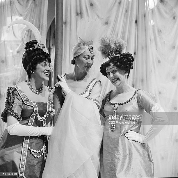 Cast members perform in a scene from the CBS Television presentation of 'Cinderella' New York New York March 22 1957 Left to right American actresses...